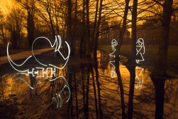 Doyouthinkhesaurus? (All In Camera Light Painting Girls Hiding From Triceratops), Rickmansworth Aquadrome